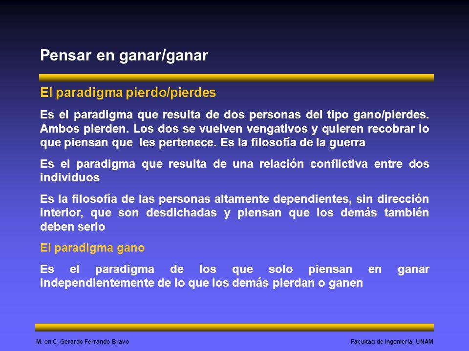Facultad de Ingeniería, UNAMM. en C. Gerardo Ferrando Bravo Pensar en ganar/ganar El paradigma pierdo/pierdes Es el paradigma que resulta de dos perso