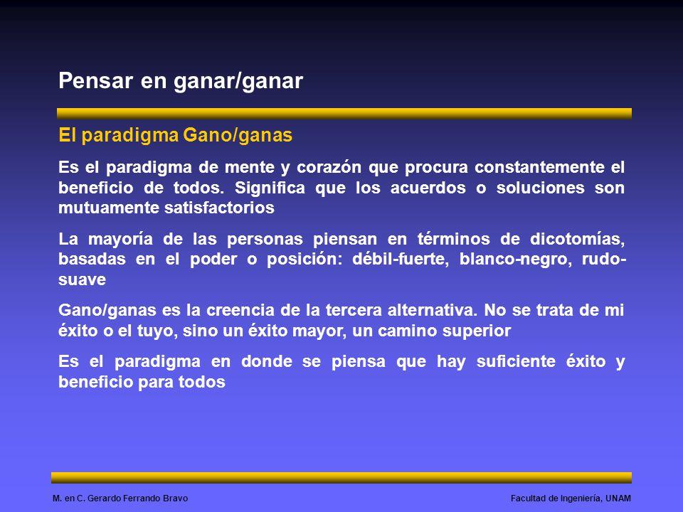 Facultad de Ingeniería, UNAMM. en C. Gerardo Ferrando Bravo Pensar en ganar/ganar El paradigma Gano/ganas Es el paradigma de mente y corazón que procu