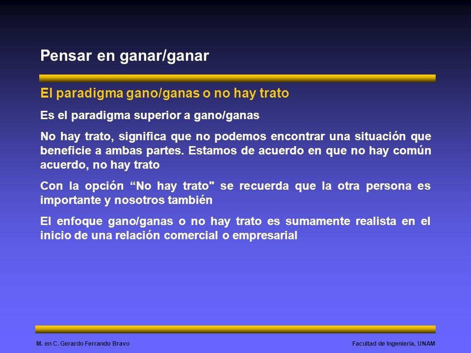Facultad de Ingeniería, UNAMM. en C. Gerardo Ferrando Bravo Pensar en ganar/ganar El paradigma gano/ganas o no hay trato Es el paradigma superior a ga