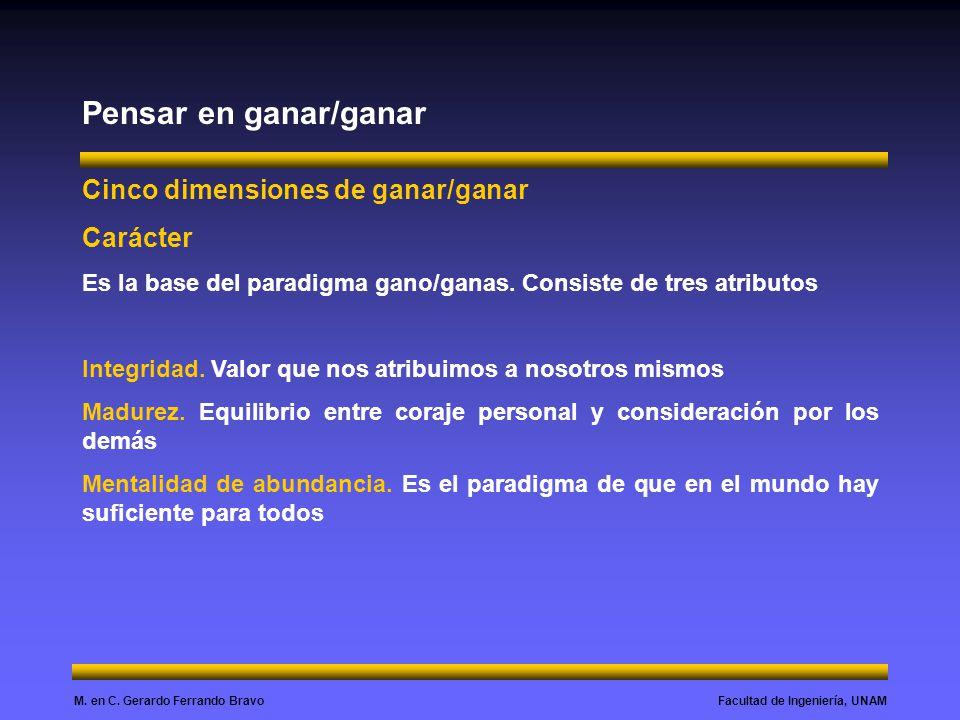 Facultad de Ingeniería, UNAMM. en C. Gerardo Ferrando Bravo Pensar en ganar/ganar Cinco dimensiones de ganar/ganar Carácter Es la base del paradigma g