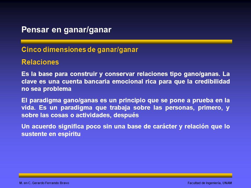 Facultad de Ingeniería, UNAMM. en C. Gerardo Ferrando Bravo Pensar en ganar/ganar Cinco dimensiones de ganar/ganar Relaciones Es la base para construi