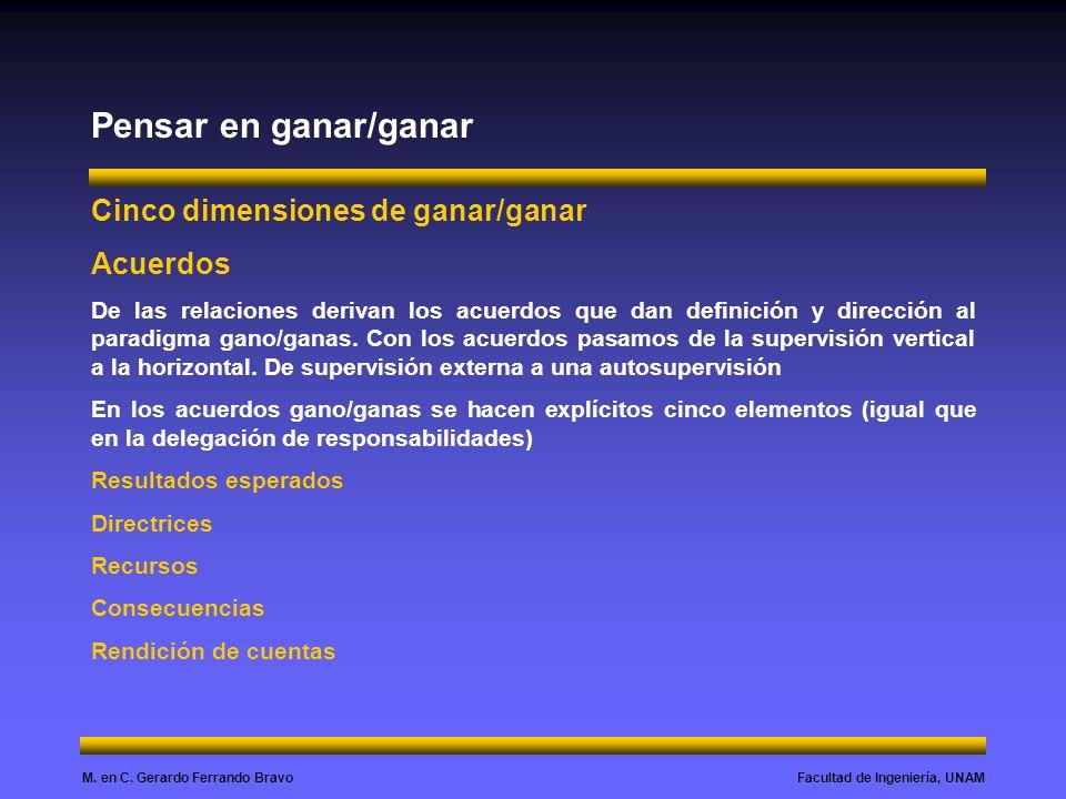 Facultad de Ingeniería, UNAMM. en C. Gerardo Ferrando Bravo Pensar en ganar/ganar Cinco dimensiones de ganar/ganar Acuerdos De las relaciones derivan