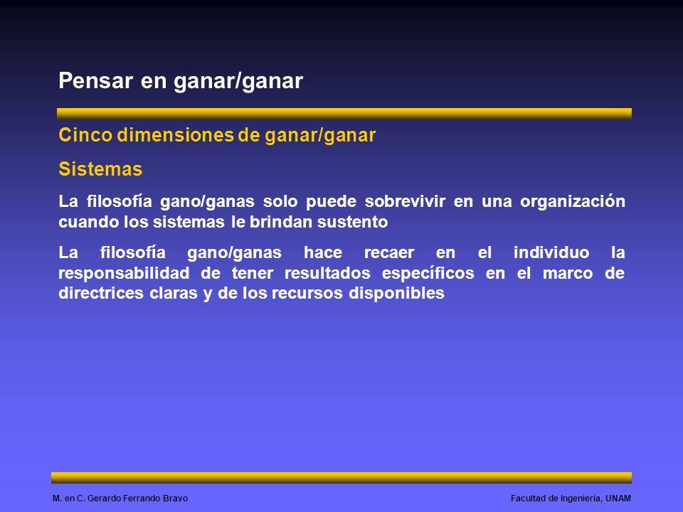 Facultad de Ingeniería, UNAMM. en C. Gerardo Ferrando Bravo Pensar en ganar/ganar Cinco dimensiones de ganar/ganar Sistemas La filosofía gano/ganas so