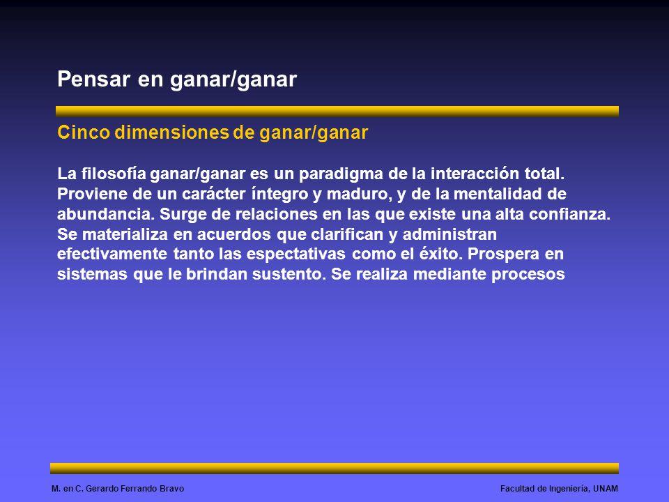 Facultad de Ingeniería, UNAMM. en C. Gerardo Ferrando Bravo Pensar en ganar/ganar Cinco dimensiones de ganar/ganar La filosofía ganar/ganar es un para