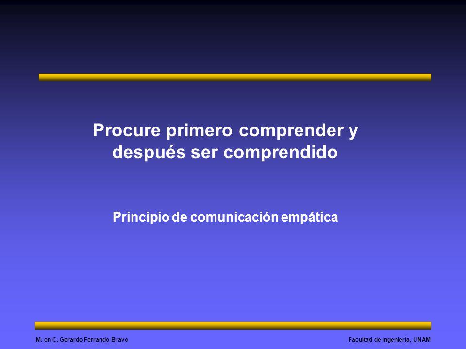 Facultad de Ingeniería, UNAMM. en C. Gerardo Ferrando Bravo Procure primero comprender y después ser comprendido Principio de comunicación empática