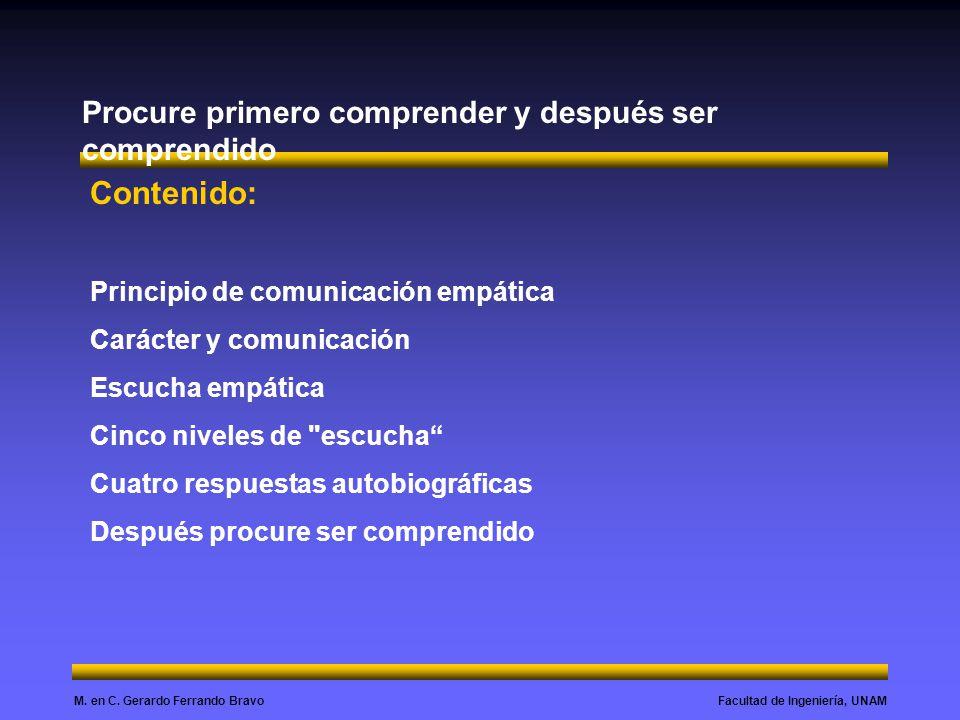 Facultad de Ingeniería, UNAMM. en C. Gerardo Ferrando Bravo Procure primero comprender y después ser comprendido Contenido: Principio de comunicación