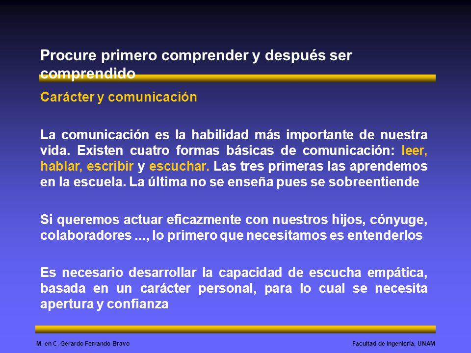 Facultad de Ingeniería, UNAMM. en C. Gerardo Ferrando Bravo Procure primero comprender y después ser comprendido Carácter y comunicación La comunicaci