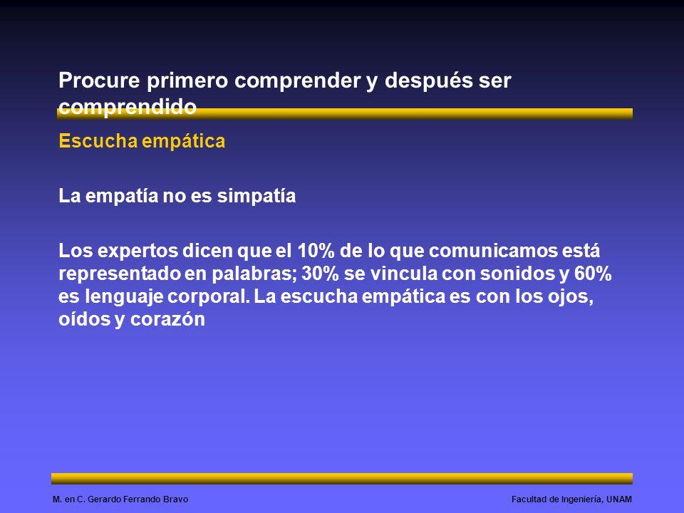 Facultad de Ingeniería, UNAMM. en C. Gerardo Ferrando Bravo Procure primero comprender y después ser comprendido Escucha empática La empatía no es sim