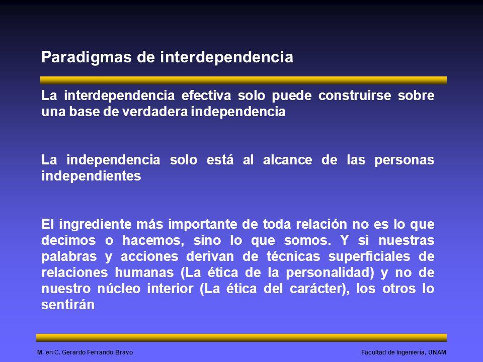 Facultad de Ingeniería, UNAMM. en C. Gerardo Ferrando Bravo Paradigmas de interdependencia La interdependencia efectiva solo puede construirse sobre u