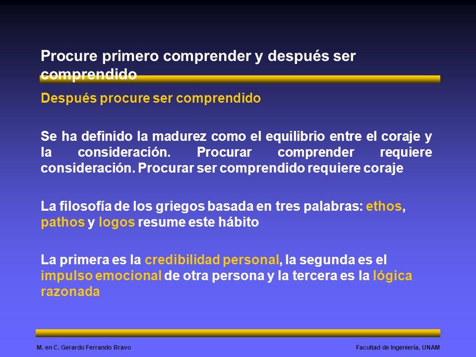 Facultad de Ingeniería, UNAMM. en C. Gerardo Ferrando Bravo Procure primero comprender y después ser comprendido Después procure ser comprendido Se ha