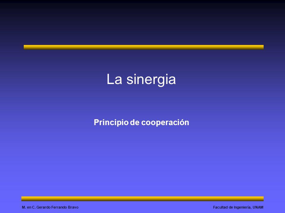 Facultad de Ingeniería, UNAMM. en C. Gerardo Ferrando Bravo La sinergia Principio de cooperación