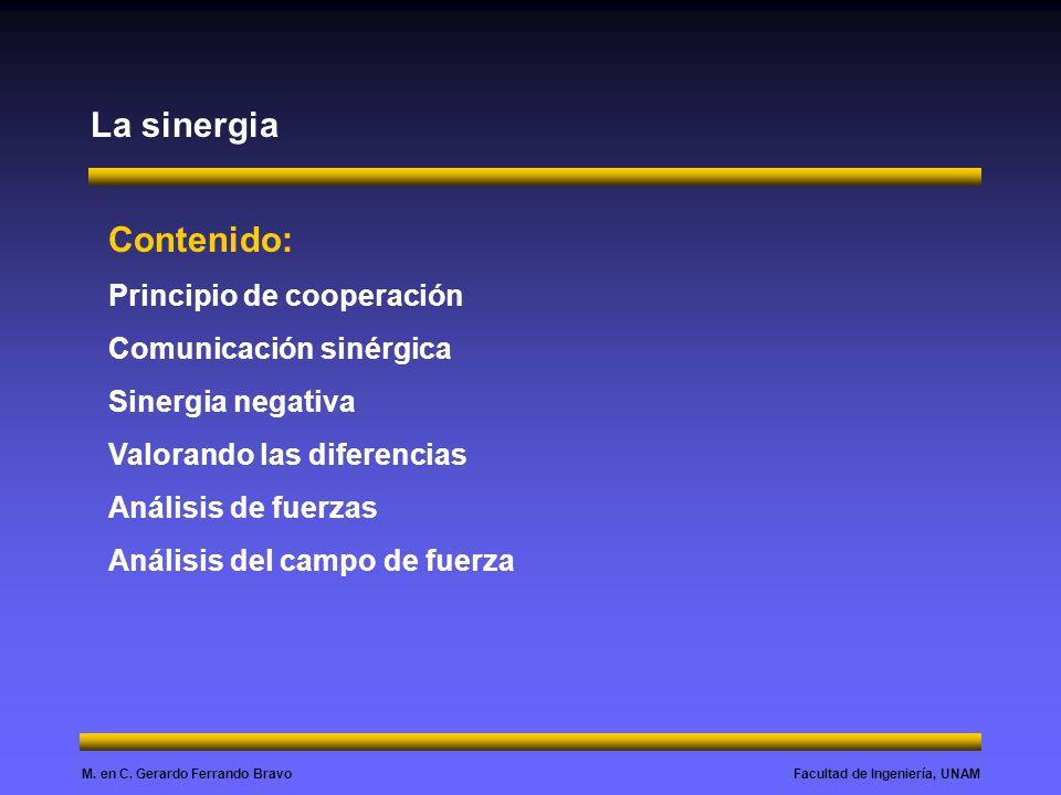 Facultad de Ingeniería, UNAMM. en C. Gerardo Ferrando Bravo La sinergia Contenido: Principio de cooperación Comunicación sinérgica Sinergia negativa V