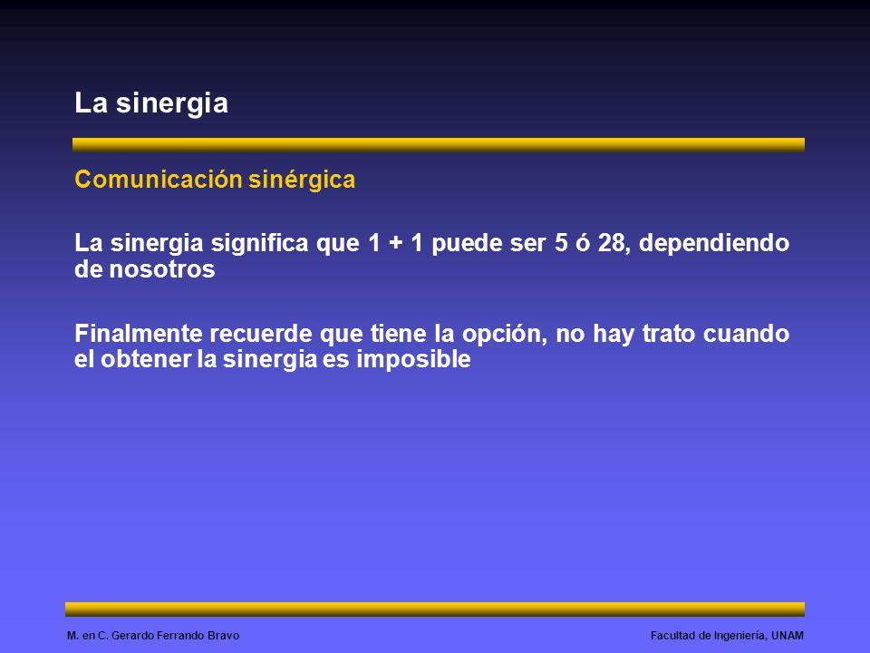 Facultad de Ingeniería, UNAMM. en C. Gerardo Ferrando Bravo La sinergia Comunicación sinérgica La sinergia significa que 1 + 1 puede ser 5 ó 28, depen
