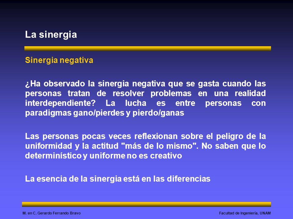 Facultad de Ingeniería, UNAMM. en C. Gerardo Ferrando Bravo La sinergia Sinergia negativa ¿Ha observado la sinergia negativa que se gasta cuando las p