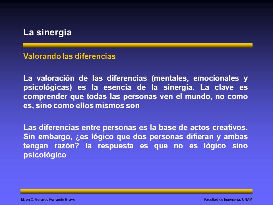 Facultad de Ingeniería, UNAMM. en C. Gerardo Ferrando Bravo La sinergia Valorando las diferencias La valoración de las diferencias (mentales, emociona