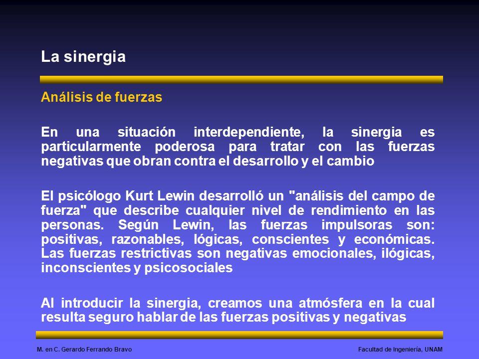 Facultad de Ingeniería, UNAMM. en C. Gerardo Ferrando Bravo La sinergia Análisis de fuerzas En una situación interdependiente, la sinergia es particul