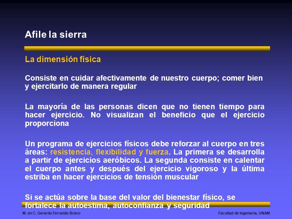 Facultad de Ingeniería, UNAMM. en C. Gerardo Ferrando Bravo Afile la sierra La dimensión física Consiste en cuidar afectivamente de nuestro cuerpo; co