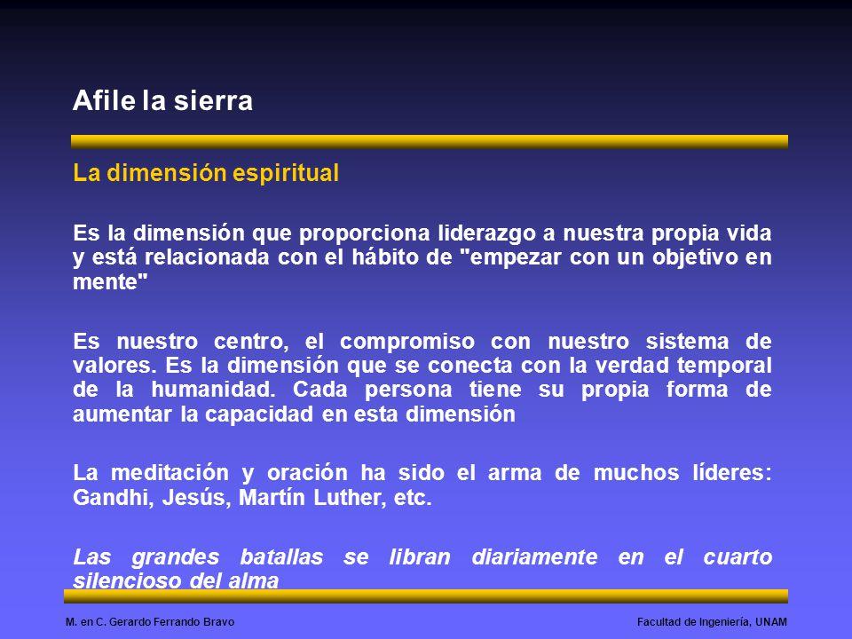 Facultad de Ingeniería, UNAMM. en C. Gerardo Ferrando Bravo Afile la sierra La dimensión espiritual Es la dimensión que proporciona liderazgo a nuestr