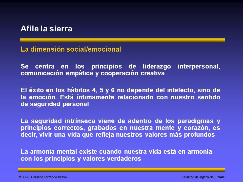 Facultad de Ingeniería, UNAMM. en C. Gerardo Ferrando Bravo Afile la sierra La dimensión social/emocional Se centra en los principios de liderazgo int