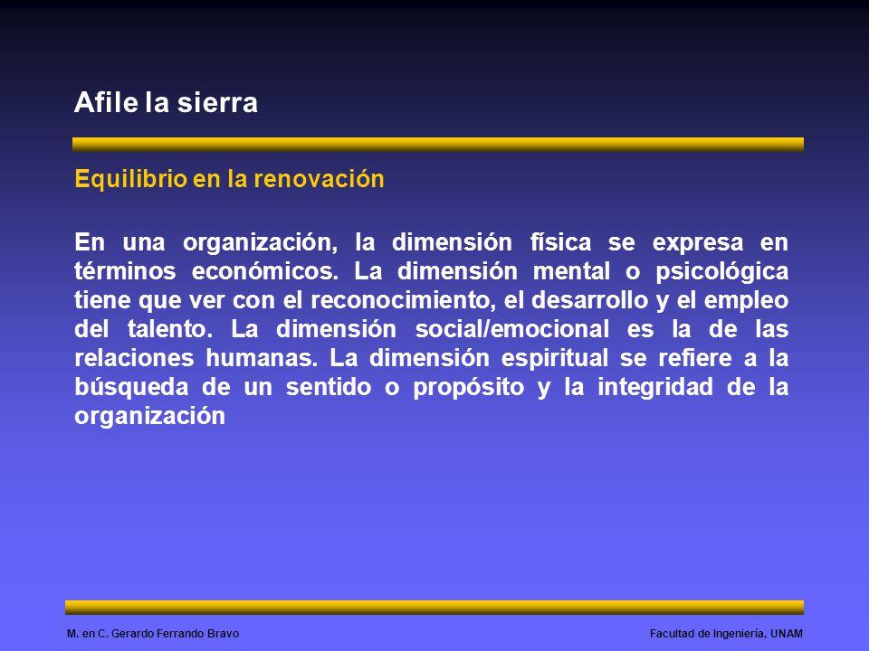 Facultad de Ingeniería, UNAMM. en C. Gerardo Ferrando Bravo Afile la sierra Equilibrio en la renovación En una organización, la dimensión física se ex