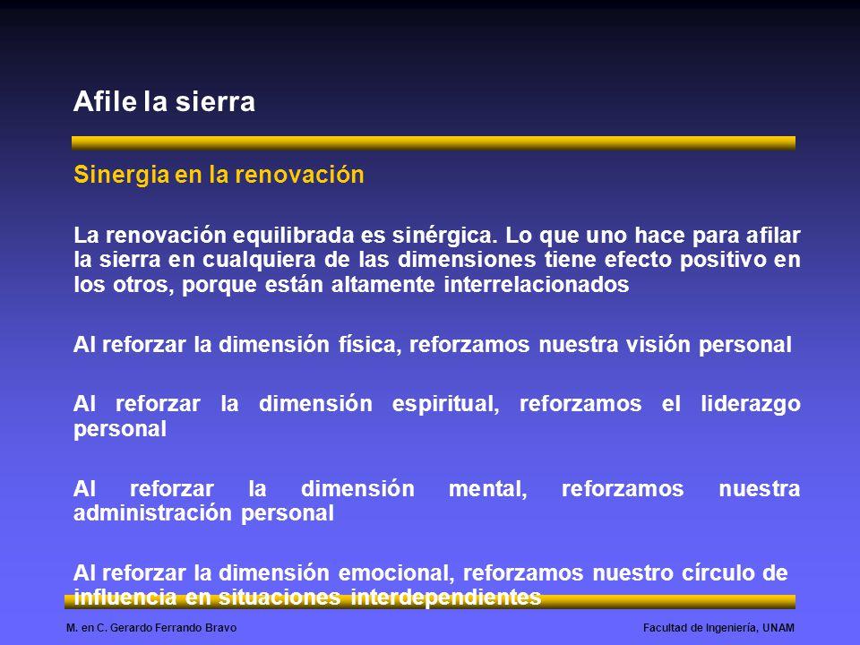 Facultad de Ingeniería, UNAMM. en C. Gerardo Ferrando Bravo Afile la sierra Sinergia en la renovación La renovación equilibrada es sinérgica. Lo que u