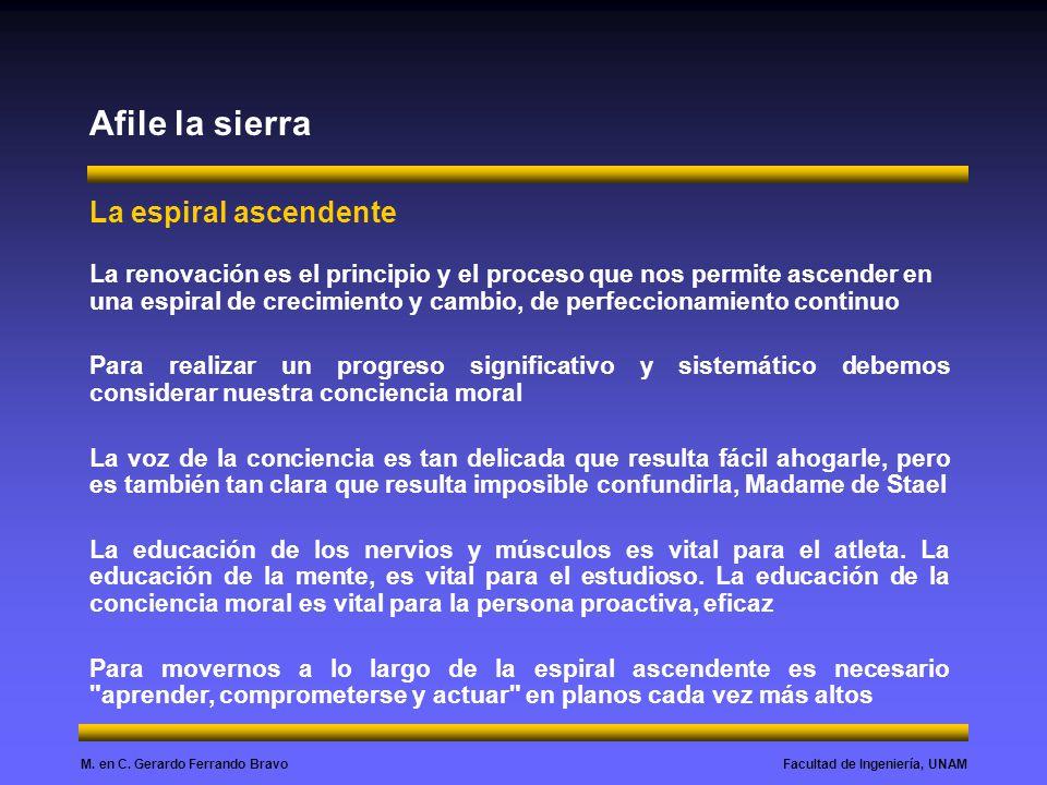 Facultad de Ingeniería, UNAMM. en C. Gerardo Ferrando Bravo Afile la sierra La espiral ascendente La renovación es el principio y el proceso que nos p