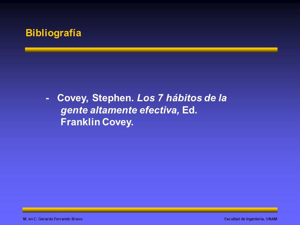 Facultad de Ingeniería, UNAMM. en C. Gerardo Ferrando Bravo Bibliografía - Covey, Stephen. Los 7 hábitos de la gente altamente efectiva, Ed. Franklin