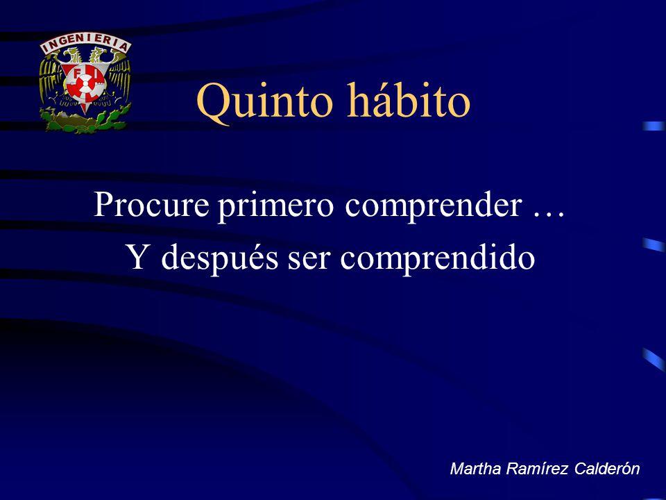 Quinto hábito Procure primero comprender … Y después ser comprendido Martha Ramírez Calderón