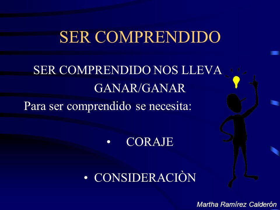 SER COMPRENDIDO SER COMPRENDIDO NOS LLEVA GANAR/GANAR Para ser comprendido se necesita: CORAJE CONSIDERACIÒN Martha Ramírez Calderón