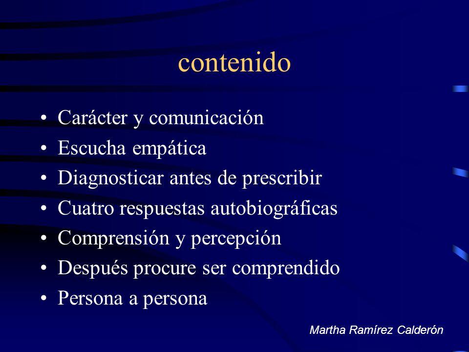 contenido Carácter y comunicación Escucha empática Diagnosticar antes de prescribir Cuatro respuestas autobiográficas Comprensión y percepción Después