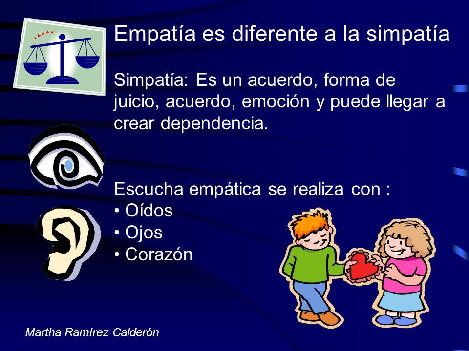 Empatía es diferente a la simpatía Simpatía: Es un acuerdo, forma de juicio, acuerdo, emoción y puede llegar a crear dependencia. Escucha empática se