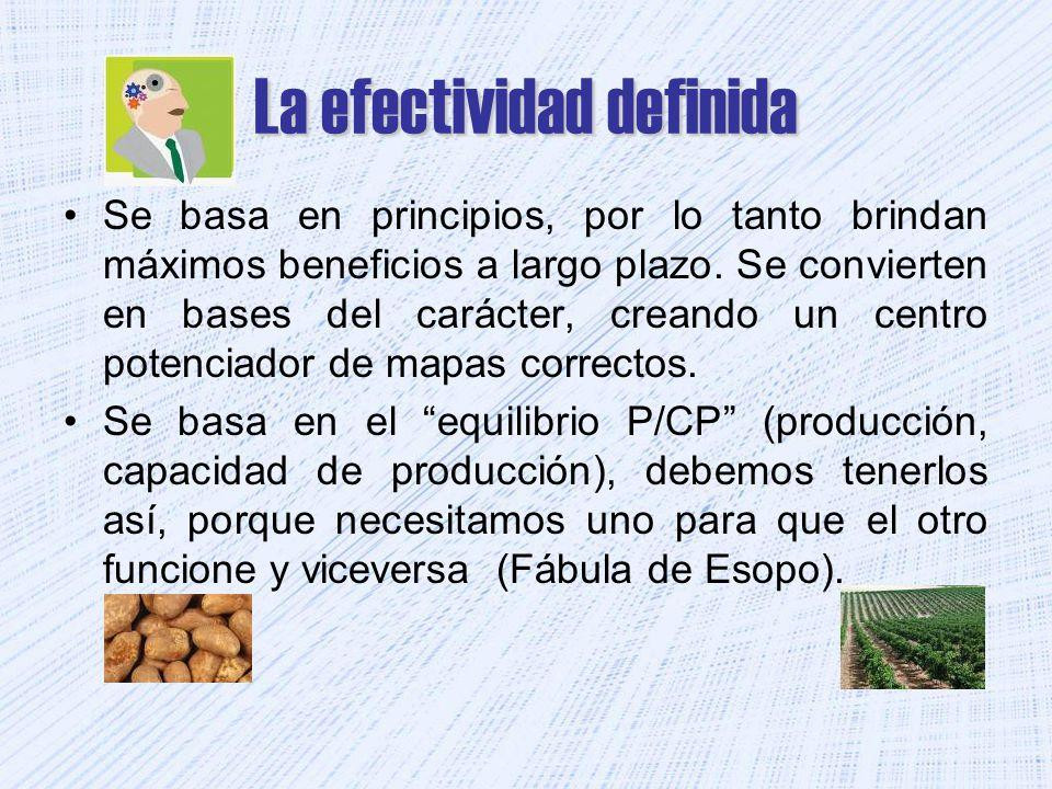 La efectividad definida Se basa en principios, por lo tanto brindan máximos beneficios a largo plazo. Se convierten en bases del carácter, creando un