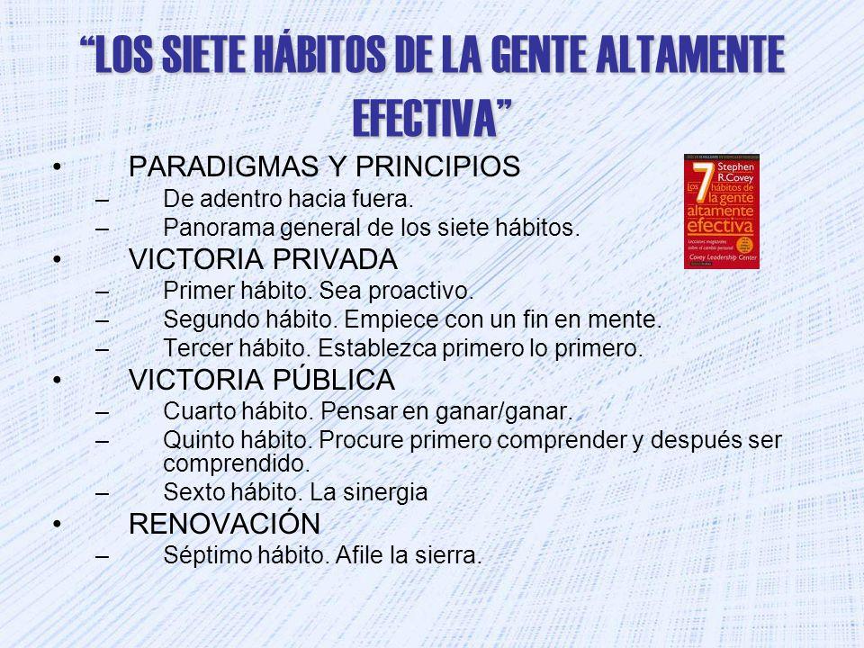 LOS SIETE HÁBITOS DE LA GENTE ALTAMENTE EFECTIVA PARADIGMAS Y PRINCIPIOS –De adentro hacia fuera. –Panorama general de los siete hábitos. VICTORIA PRI