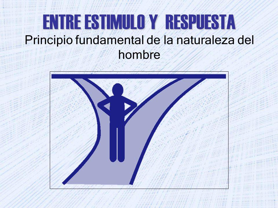 ENTRE ESTIMULO Y RESPUESTA ENTRE ESTIMULO Y RESPUESTA Principio fundamental de la naturaleza del hombre