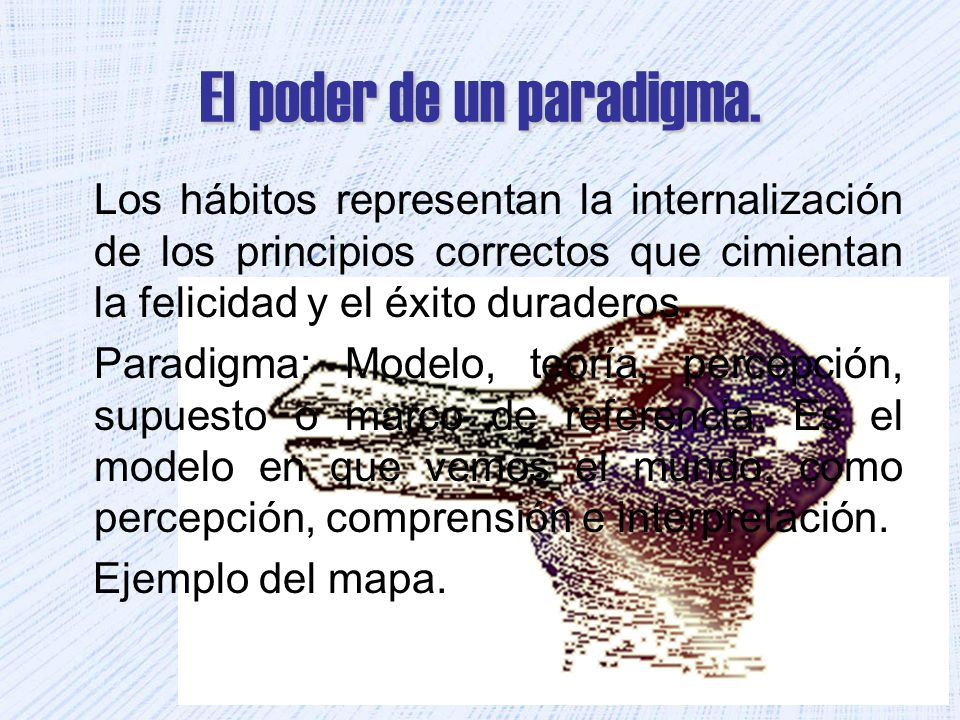 El poder de un paradigma. Los hábitos representan la internalización de los principios correctos que cimientan la felicidad y el éxito duraderos. Para