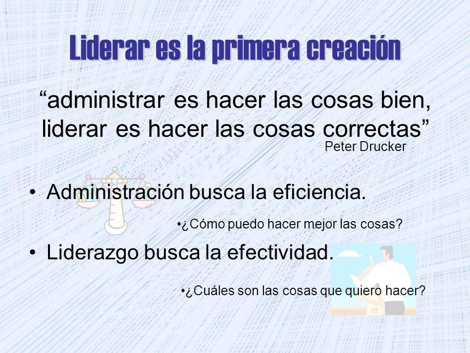 Liderar es la primera creación Administración busca la eficiencia. Liderazgo busca la efectividad. Peter Drucker administrar es hacer las cosas bien,