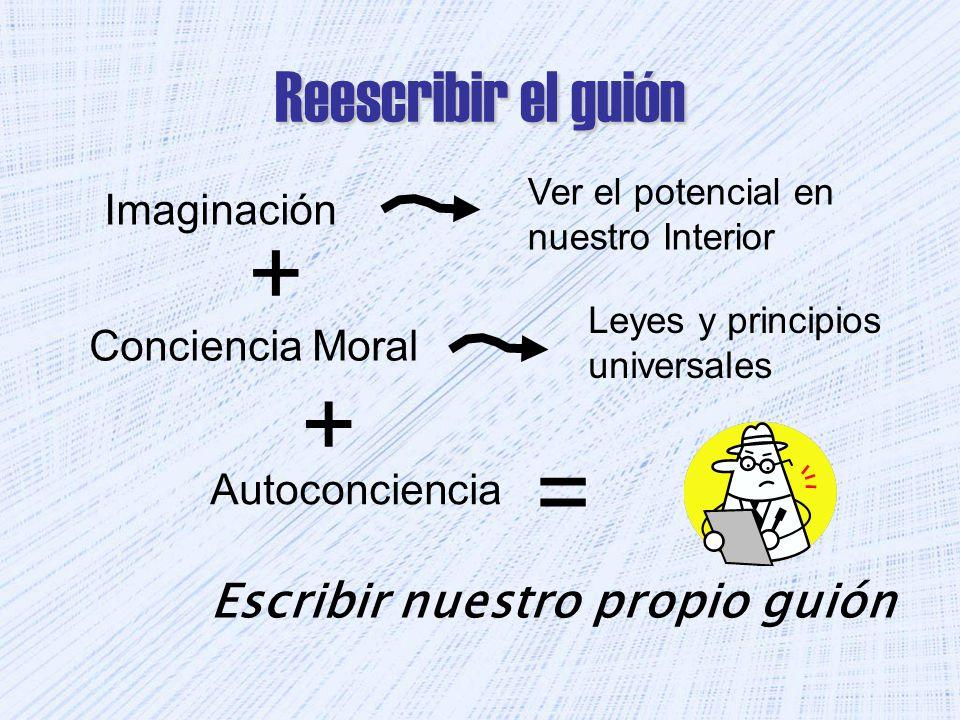 Reescribir el guión Imaginación Conciencia Moral Ver el potencial en nuestro Interior Leyes y principios universales Autoconciencia Escribir nuestro propio guión + = +