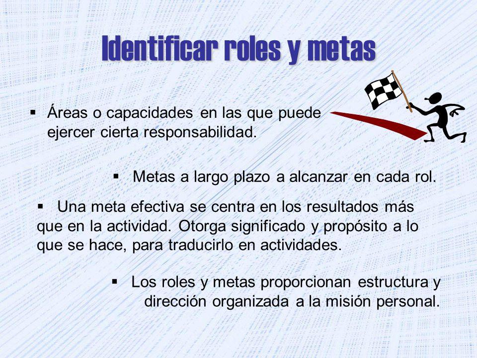 Identificar roles y metas Áreas o capacidades en las que puede ejercer cierta responsabilidad. Metas a largo plazo a alcanzar en cada rol. Una meta ef