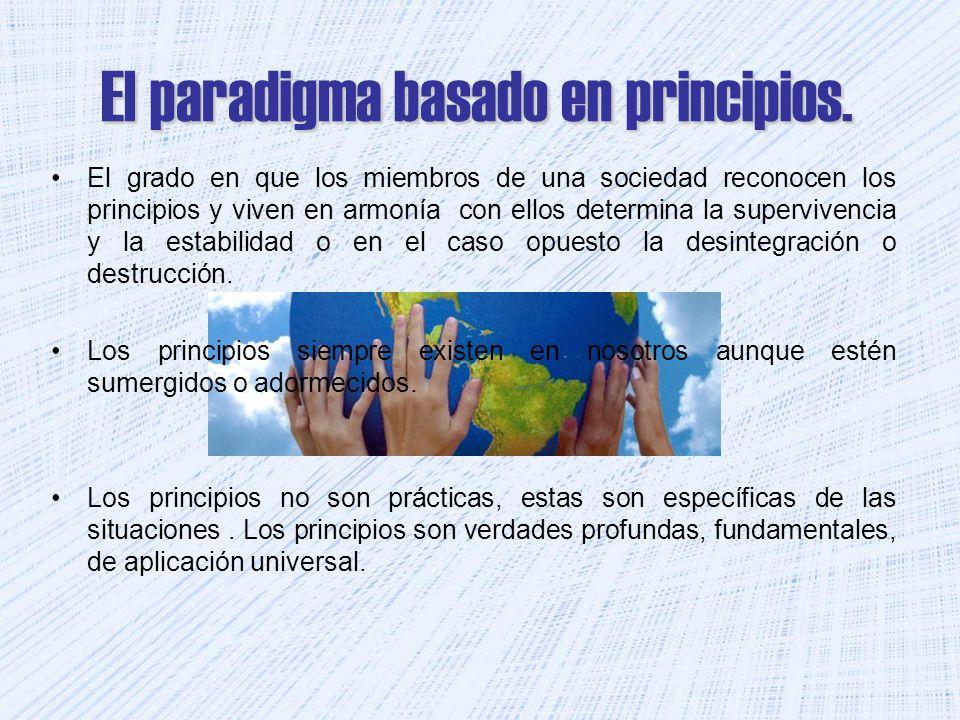 El paradigma basado en principios. El grado en que los miembros de una sociedad reconocen los principios y viven en armonía con ellos determina la sup