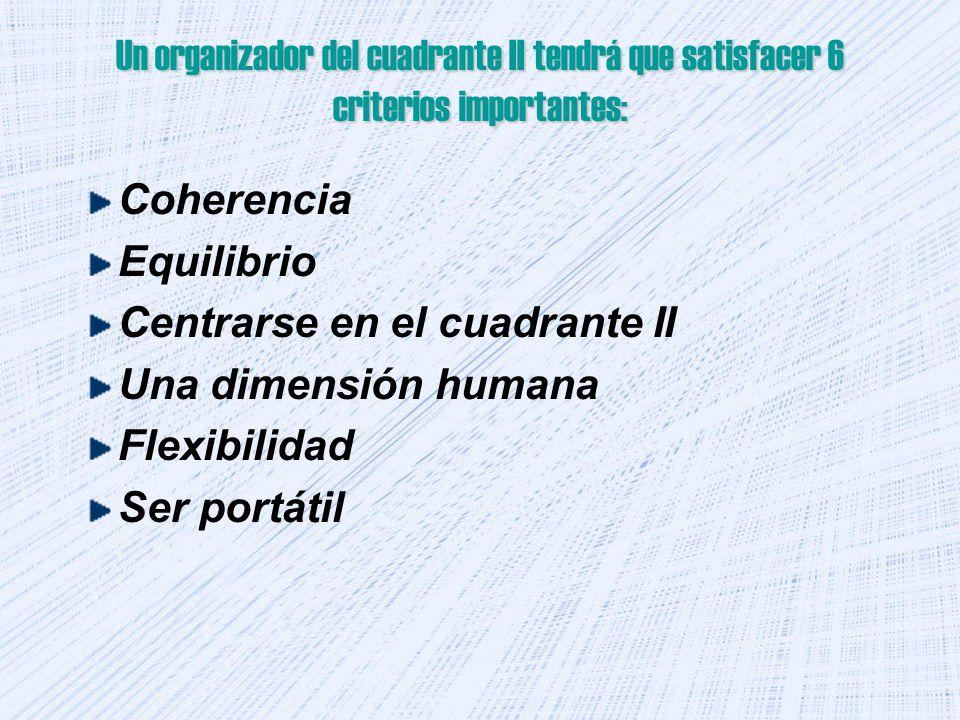 Un organizador del cuadrante II tendrá que satisfacer 6 criterios importantes: Coherencia Equilibrio Centrarse en el cuadrante II Una dimensión humana Flexibilidad Ser portátil