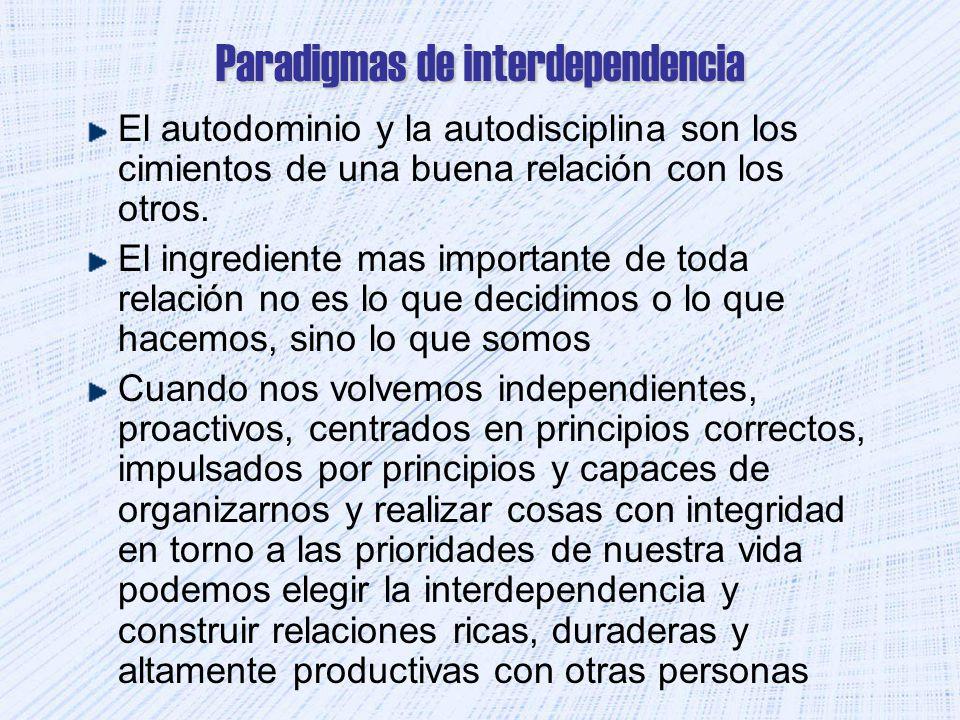 Paradigmas de interdependencia El autodominio y la autodisciplina son los cimientos de una buena relación con los otros. El ingrediente mas importante
