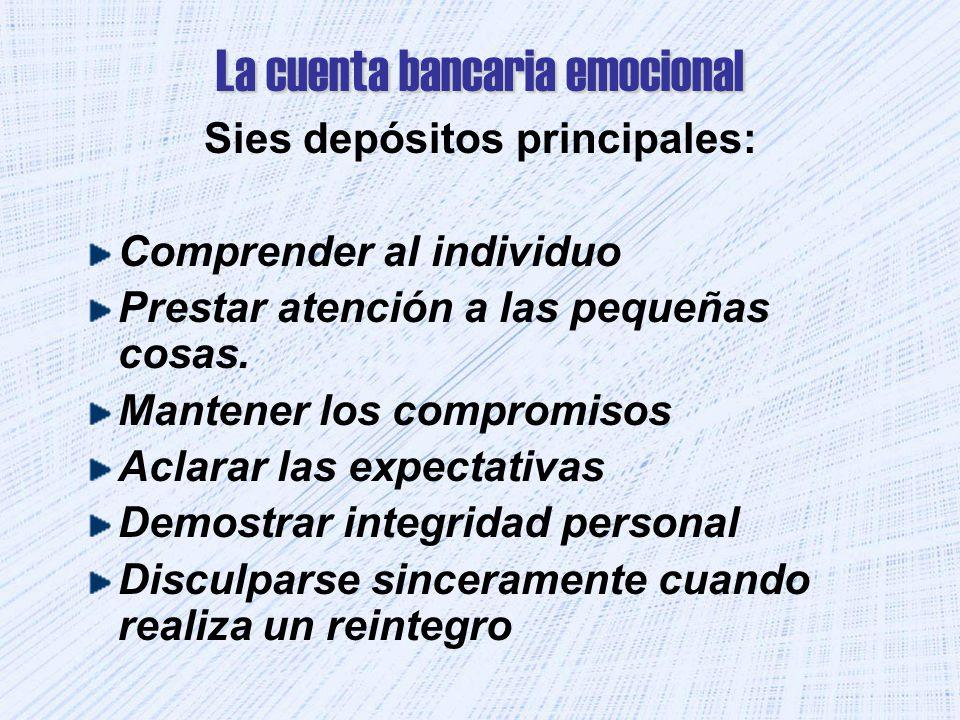 La cuenta bancaria emocional Sies depósitos principales: Comprender al individuo Prestar atención a las pequeñas cosas. Mantener los compromisos Aclar