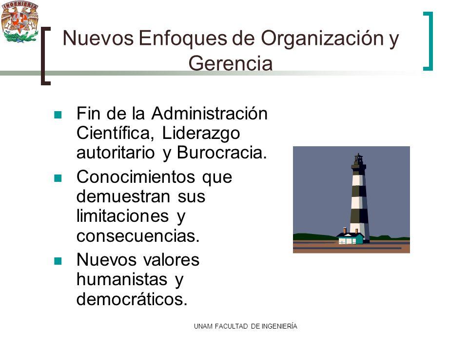 UNAM FACULTAD DE INGENIERÍA Nuevos Enfoques de Organización y Gerencia Fin de la Administración Científica, Liderazgo autoritario y Burocracia. Conoci