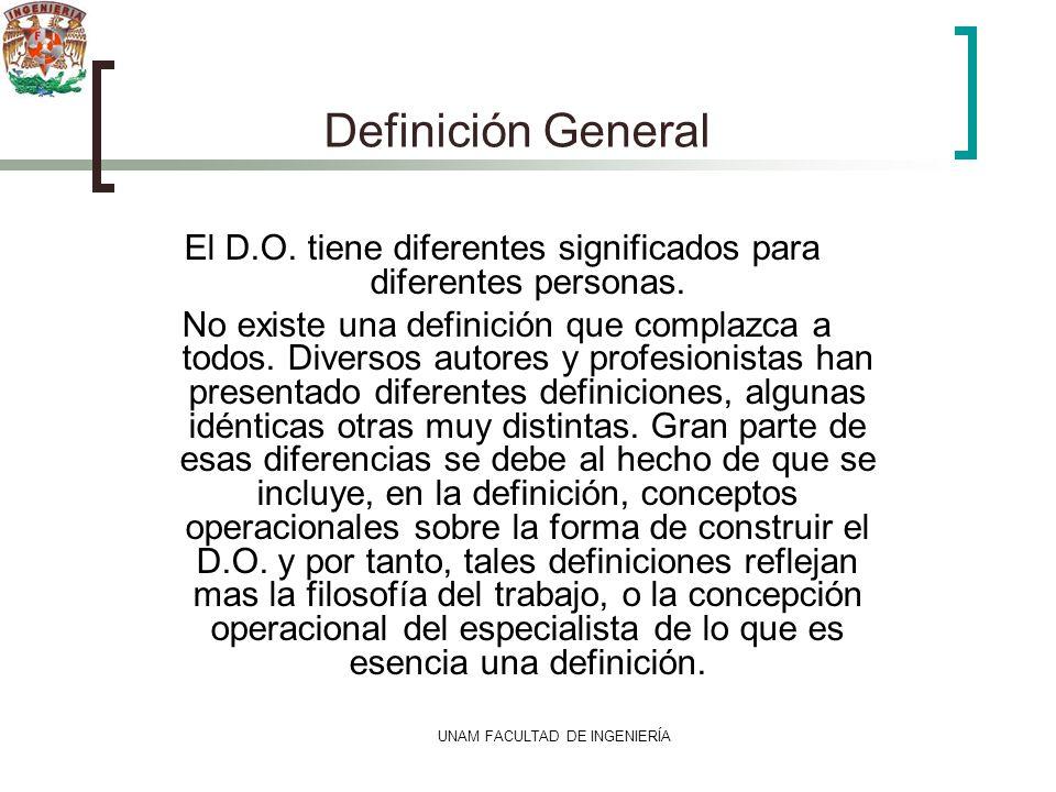 UNAM FACULTAD DE INGENIERÍA Definición General El D.O. tiene diferentes significados para diferentes personas. No existe una definición que complazca