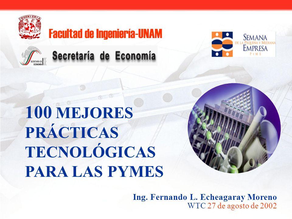 Facultad de Ingeniería-UNAM 100 MEJORES PRÁCTICAS TECNOLÓGICAS PARA LAS PYMES WTC 27 de agosto de 2002 Ing.