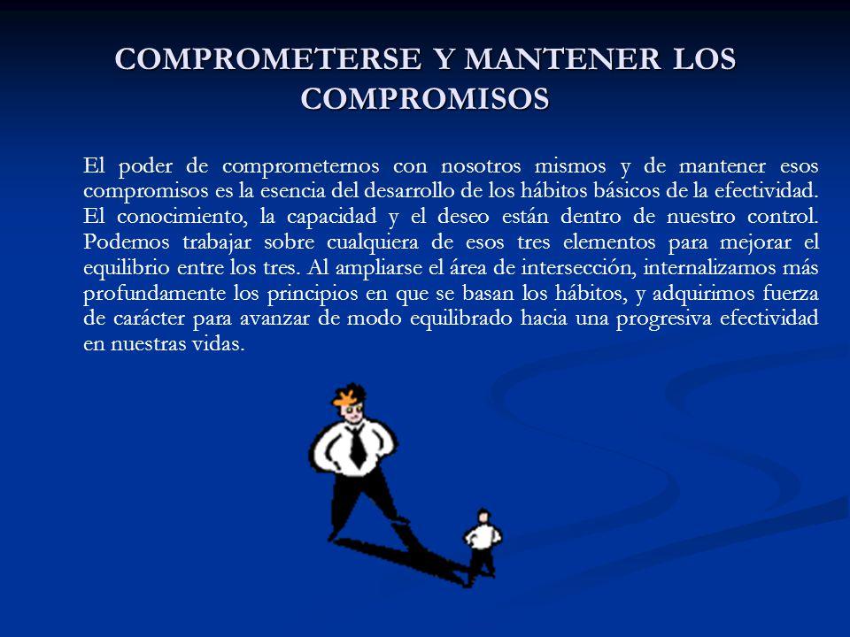 COMPROMETERSE Y MANTENER LOS COMPROMISOS El poder de comprometernos con nosotros mismos y de mantener esos compromisos es la esencia del desarrollo de