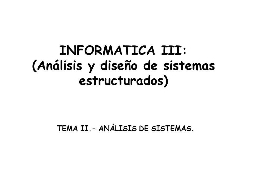 INFORMATICA III: (Análisis y diseño de sistemas estructurados) TEMA II.- ANÁLISIS DE SISTEMAS.