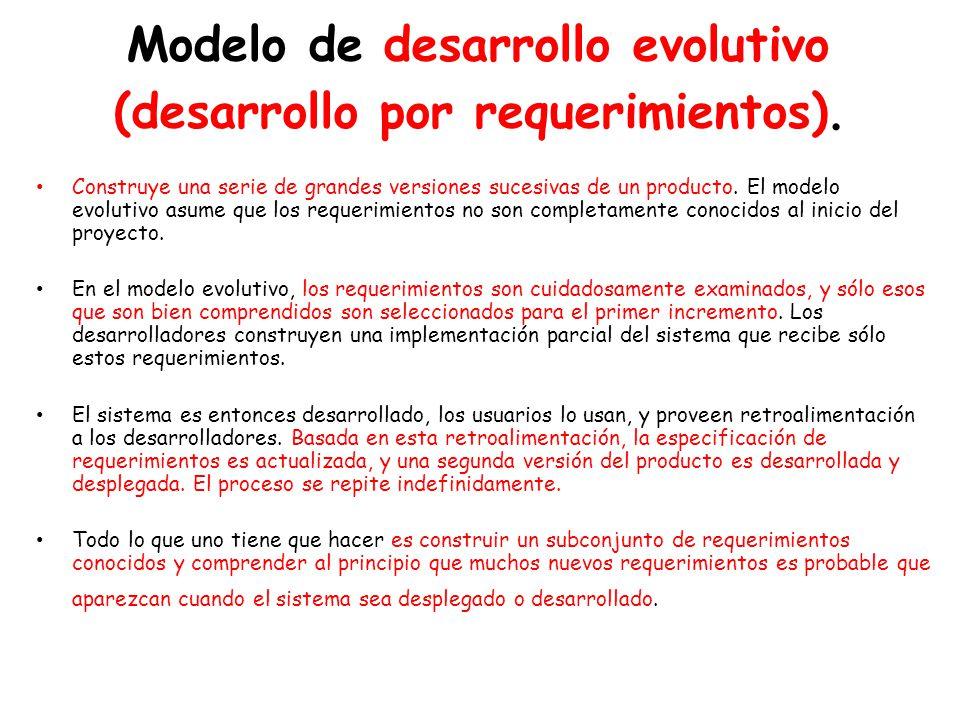 Modelo de desarrollo evolutivo (desarrollo por requerimientos).