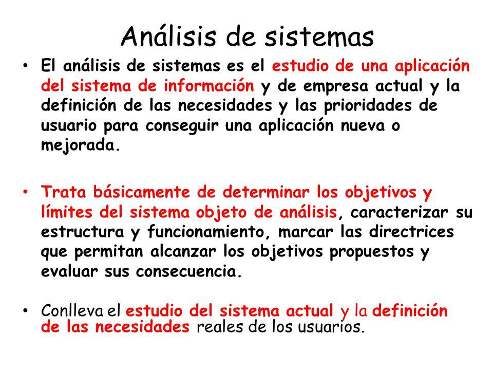 Análisis de sistemas El análisis de sistemas es el estudio de una aplicación del sistema de información y de empresa actual y la definición de las necesidades y las prioridades de usuario para conseguir una aplicación nueva o mejorada.