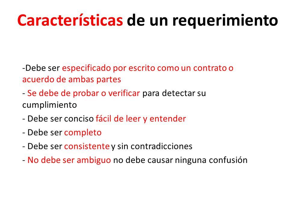 Características de un requerimiento -Debe ser especificado por escrito como un contrato o acuerdo de ambas partes - Se debe de probar o verificar para